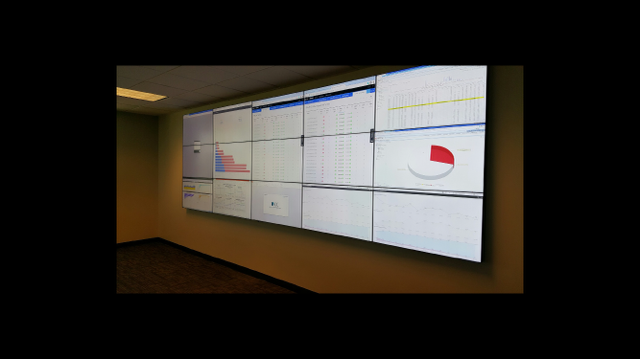 15 TVs put together on a wall to create one large screen