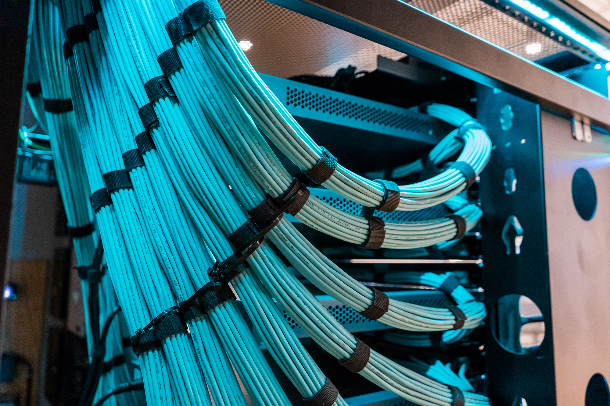 Over 10 bundles of blue cables hanging from the ceiling and wrapping into hardware
